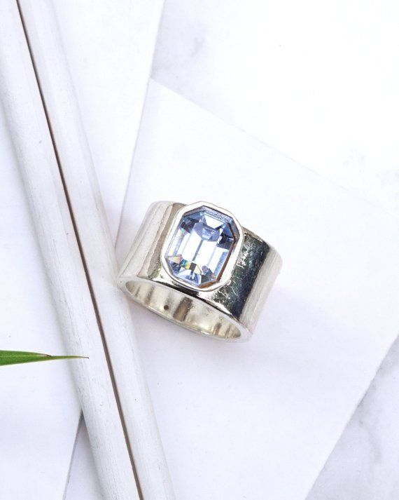 4a6a83d364 3bd391ac2 Swarovski rings, silver chunky ring, Octagon #jewelry #ring  @EtsyMktgTool ...