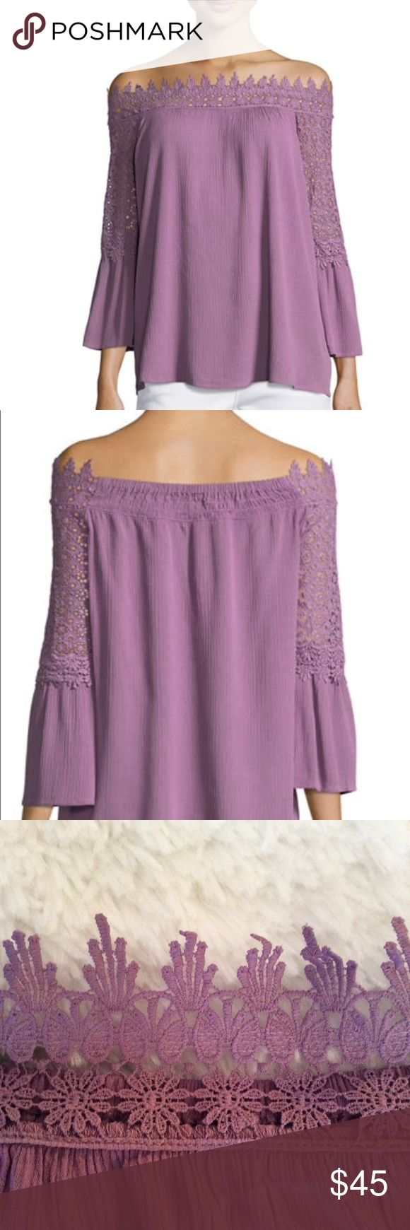 Neiman Marcus Lace Trim Off-the-Shoulder Blouse Off the shoulder neckline.  Three quarter bell sleeves.  In the back, the neckline is plain, no lace.  Beautiful lilac color.  The lilac color is not bright but muted.  Relaxed silhouette. New with tags.  I purchased it on sale at Neiman Marcus.  Approximate measurements- 20 inches from armpit to armpit and 19.5 inches in length. NM Neiman Marcus Tops Blouses