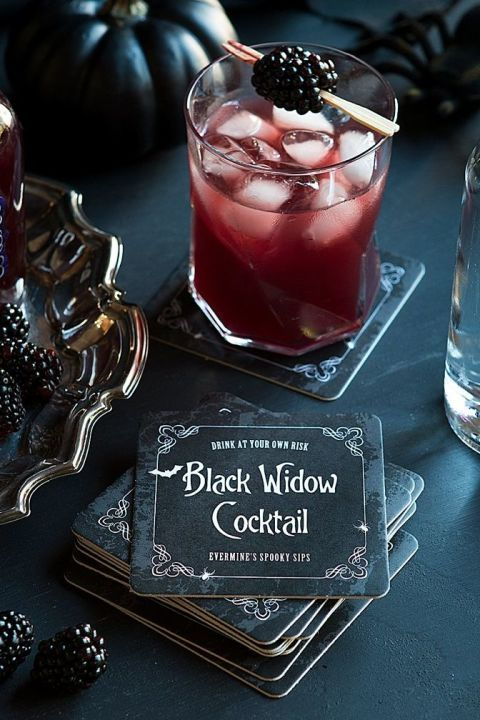 This dark, sweet, blackberry-and-vodka cocktail —appropriately named the Black Widow —may have a venomous bite. Drink it if you dare. Click through for the recipe and more killer cocktails for your Halloween party.