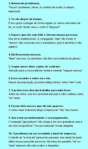 Dez erros de português que comprometem a vida social e as pretensões profissionais de qualquer um. #dicas #portugues