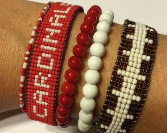 Pulsera de los cardenales de Arizona cardenales pulsera, pulsera de NFL, pulsera de fútbol, telar abalorios pulsera, pulsera de la amistad con cuentas