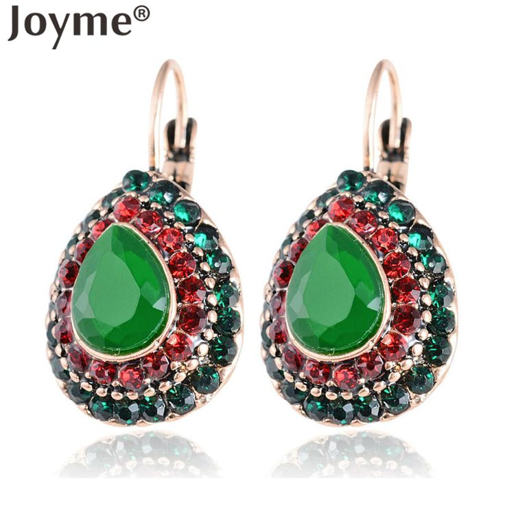 Indian Jewelry Vintage Accessories Gold Earring Female Clip Black Pendant Green Turquoise Red Crystal Earrings Brincos