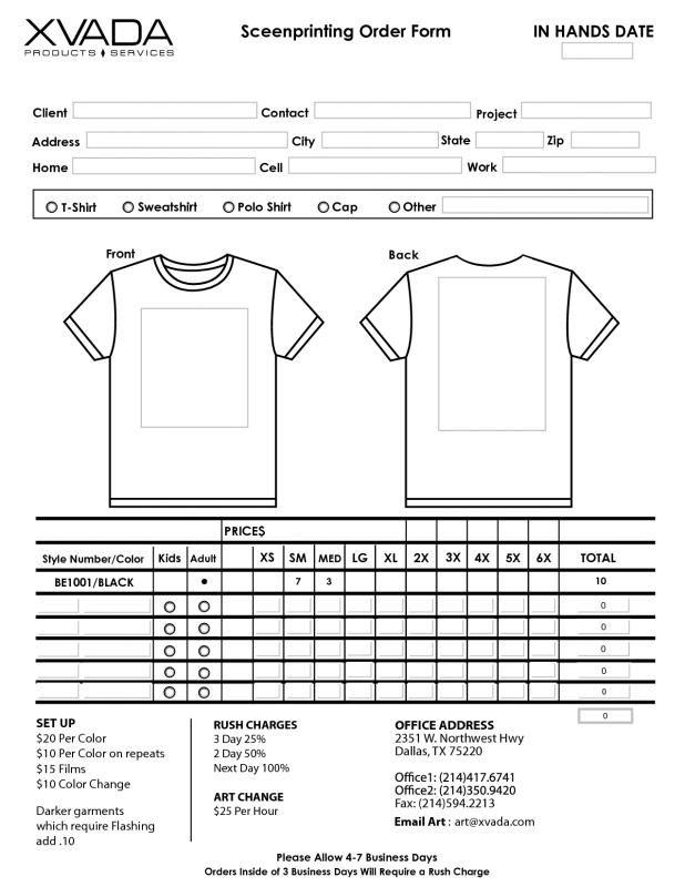 Shirt Order Forms Order Form Template Order Form Template Free Shirt Template