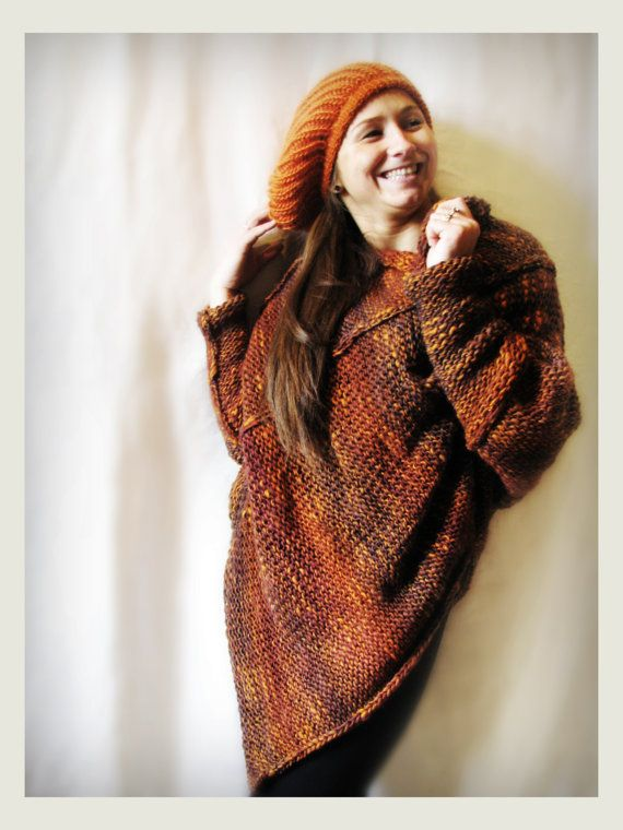 Orange merino wool poncho / cape by Rewella on Etsy