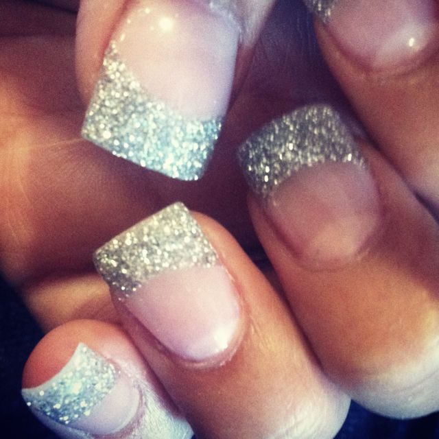 Silver Glitter Tips !!! Love!! Did it, so many compliments too!!!!