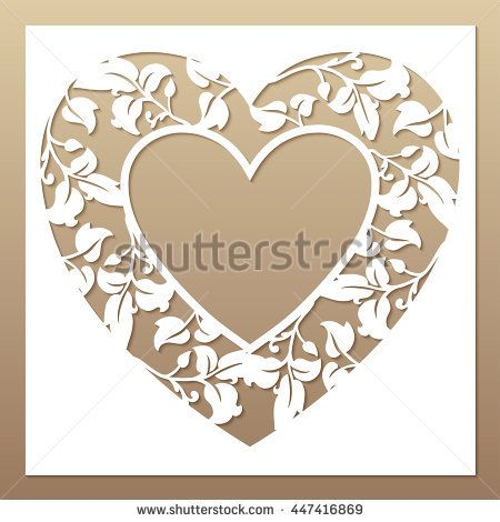 Photo frame template with an openwork floral pattern. Vector mockup for laser cutting of decorative elements.