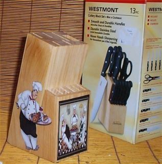 Attractive Red 13 Pc Butcher Block Fat Chef Bistro Kitchen Decor Good Food Chef R