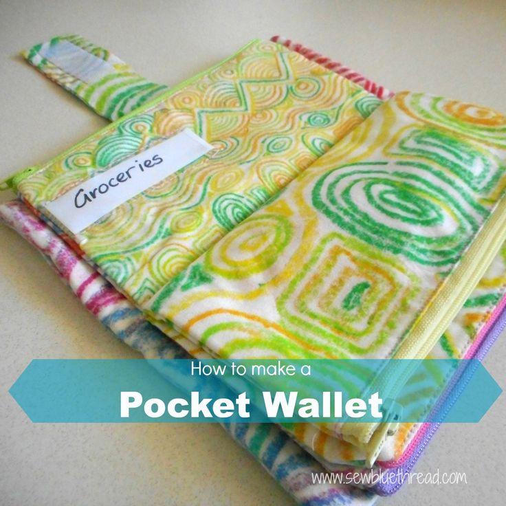 Pocket Wallet Pattern.  Fabric by Marsha_Nicoll,  Sew Blue Thread