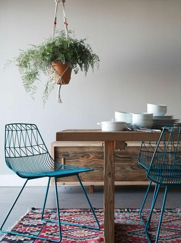 Esstisch Holz Stühle Bank. Esszimmermöbel Holztisch Blaue Stühle