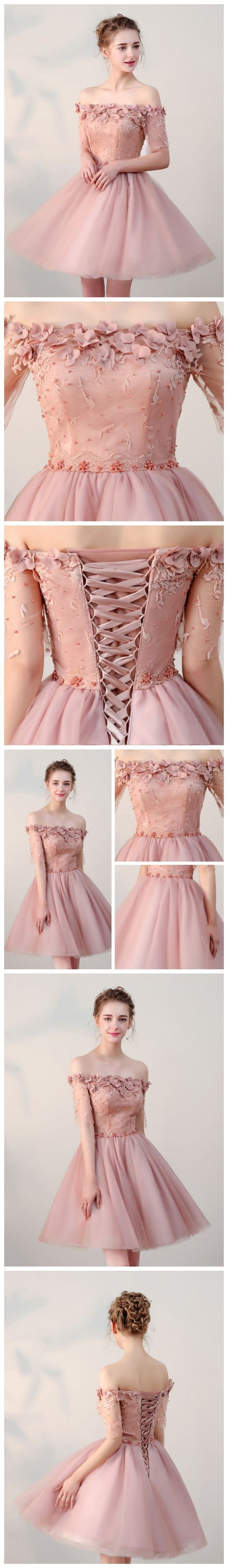 CHIC HOMECOMING DRESSES SHORT PEARL PINK OFF-THE-SHOULDER TULLE CHEAP PROM DRESS AM022 #custommadeclosets #HomecomingDress #homecomingdresses #homecomingdressesshort