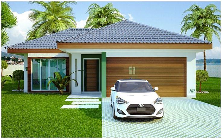 Casa térrea com telhado aparente e garagem
