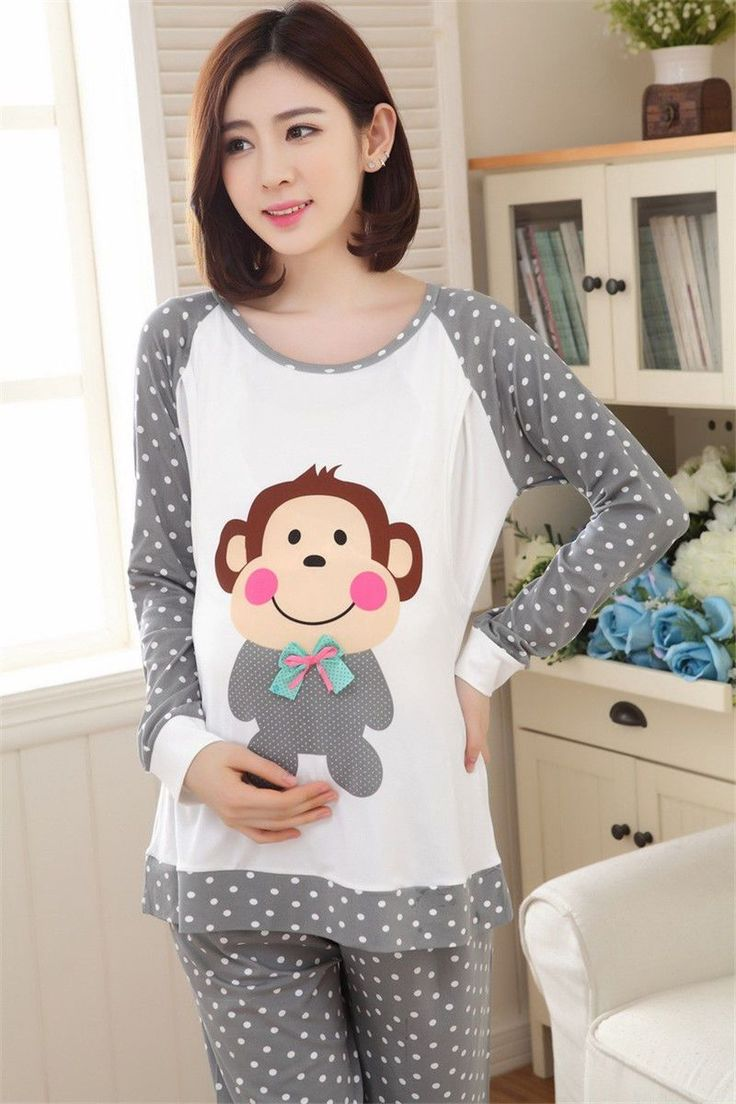 Cute Monkey Maternity Nightgown Pregnant Pajama Nursing Pants + Tops Plus Size