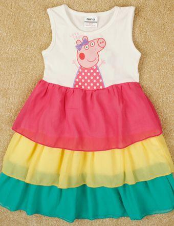 Vestido de colores #Peppapig, Tallas 2 a 8 años, Valor 11.990.-