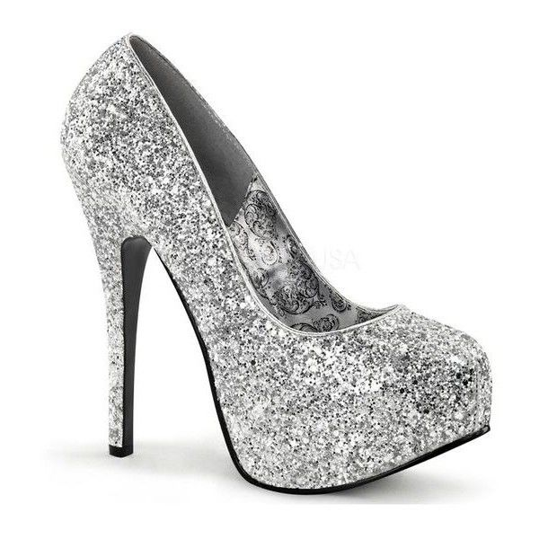 Bordello Silver Glitter Pump Platforms ❤ liked on Polyvore featuring shoes, pumps, sparkly pumps, silver platform shoes, silver pumps, silver glitter shoes and high heel pumps