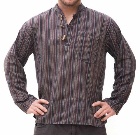 Hippie Brown Striped Shirt