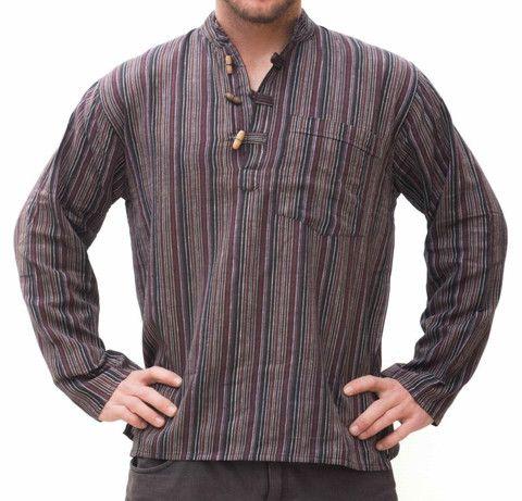 Hippie Brown Striped Shirt