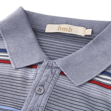 Comfort Cotton Stripe Printed Turn-down Collar T-shirts Men's Casual Business POLO Shirt at Banggood