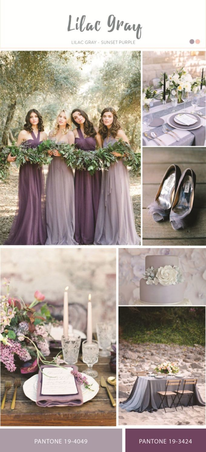 Lilac Gray Bridal Color Scheme For Wedding Inspiration