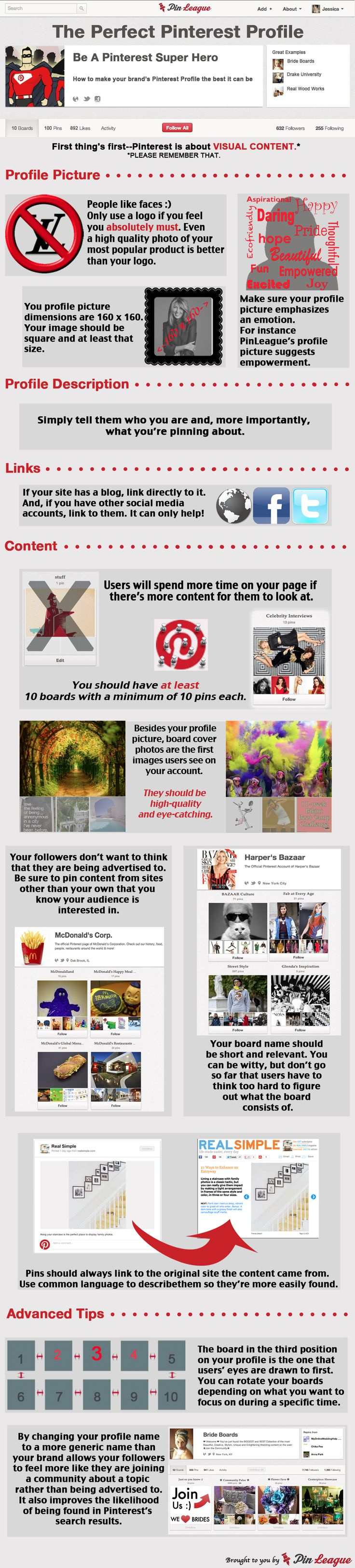 """At least 10 boards with at least 10 pins each.  I better get cracking!  How to create the """"Perfect Pinterest Profile"""" - helpful infographic with valueable hints."""