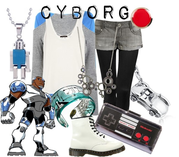"""Cyborg from Teen Titans"" by likeghostsinthesnow ❤ liked on Polyvore"
