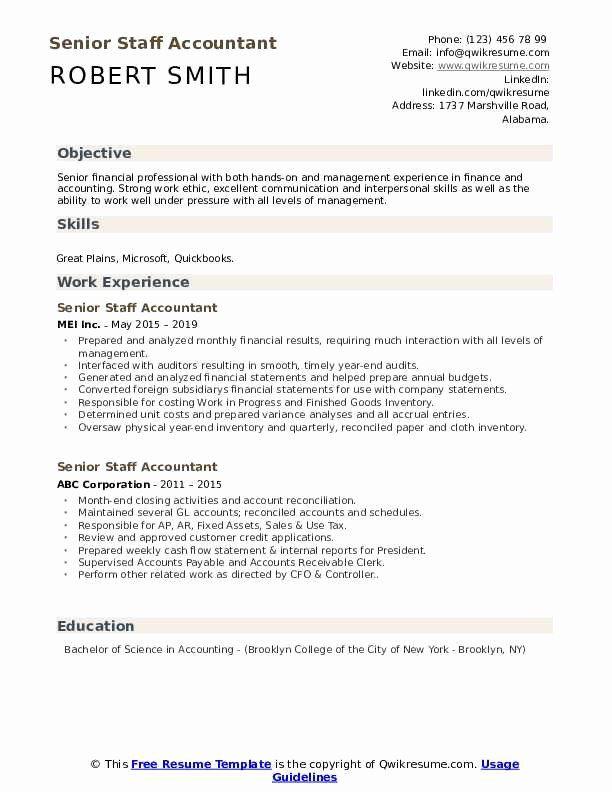 staff accountant resume examples unique senior staff