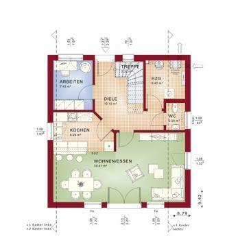 Bien Zenker Fertighaus Celebration 134 V1 – Einfamilienhaus - Grundriss Erdgeschoss