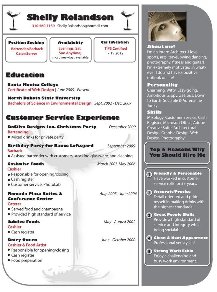 9 best Resume Styles images on Pinterest Resume ideas, Resume - Bartender Sample Resume