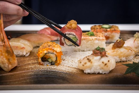 Miku from Vancouver - Aburi-style sushi. The 200-seat Toronto outpost sits at the base of RBC Water Park.