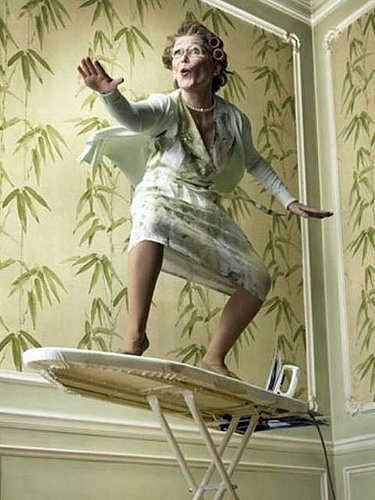 This is how you're supposed to iron right? #ExtremeIroning #Humor #GoGrandma!