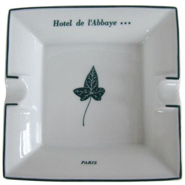 Vintage Hotel De l'Abbaye Paris Haviland Limoges Ashtray ($45) ❤ liked on Polyvore featuring home, home decor, ashtrays, paris home decor, paris france home decor, green home decor, parisian home decor and white home decor
