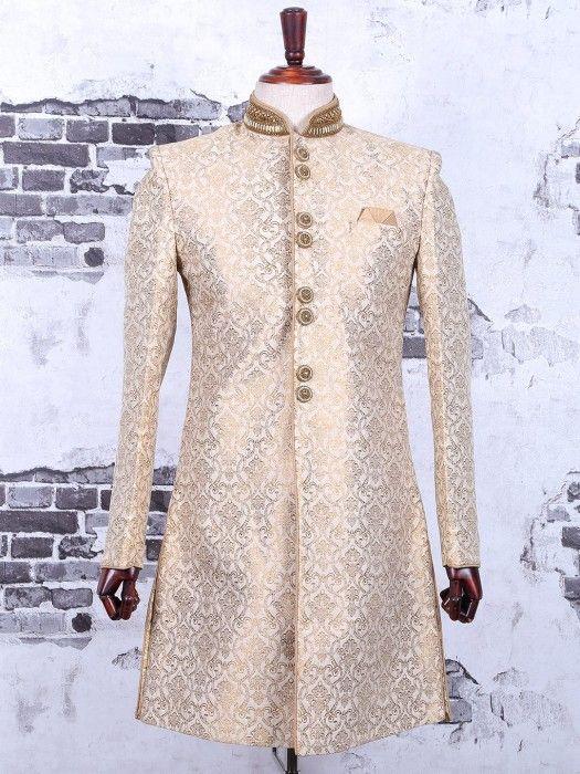 Classy Cream Silk Indo Western, mens indo western