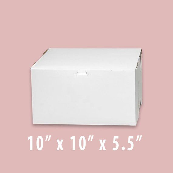 10 X 10 X 5 5 Inch White Cake Box Cupcake Box Bakery Box Etsy Bakery Box Box Cake Cupcake Boxes