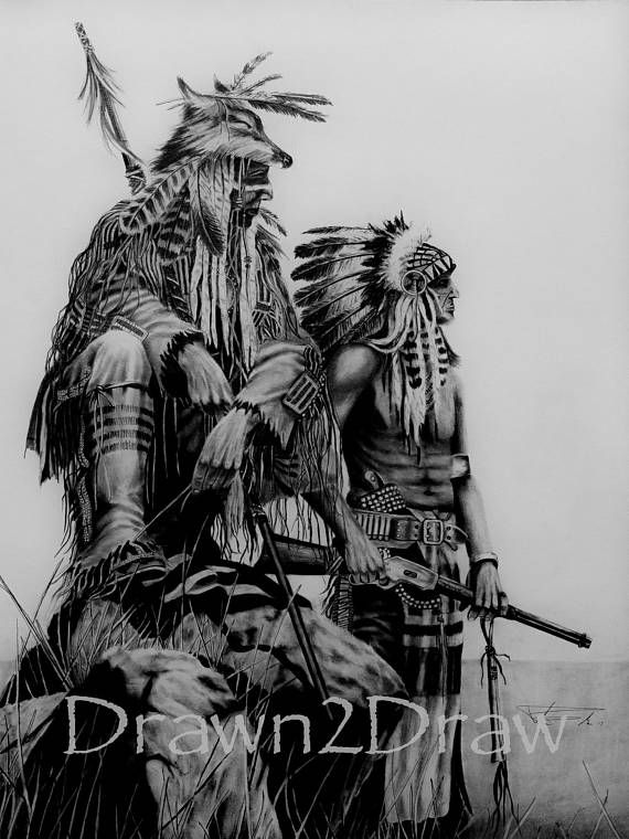 Native American Indians Pencil Drawing Print Birthday