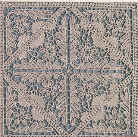 Square Romanian Point Lace Crochet - center of a larger tablecloth