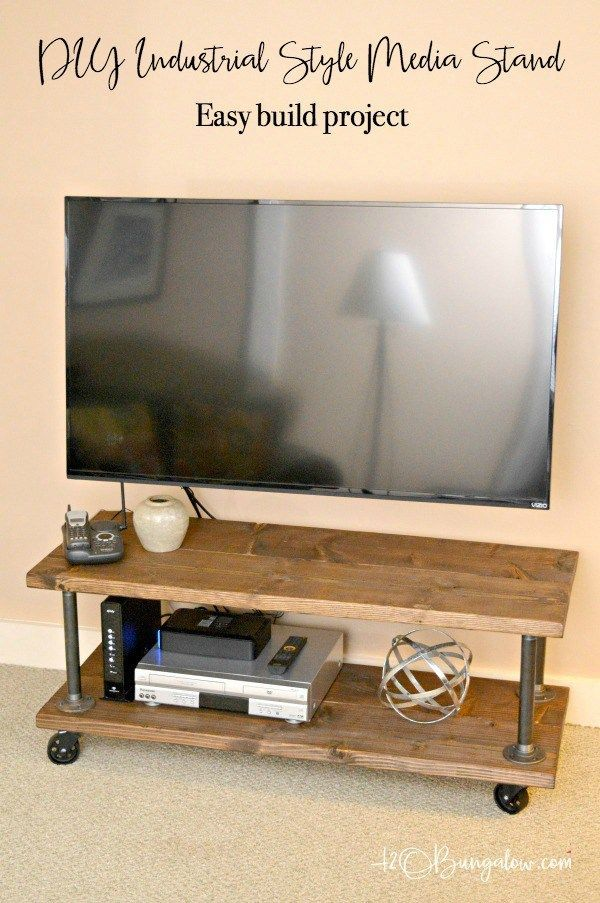 Tutorial to make a DIY industrial style media stand with wheels. Simple step directions for an upscale industrial cart style tv stand. Easy build project.