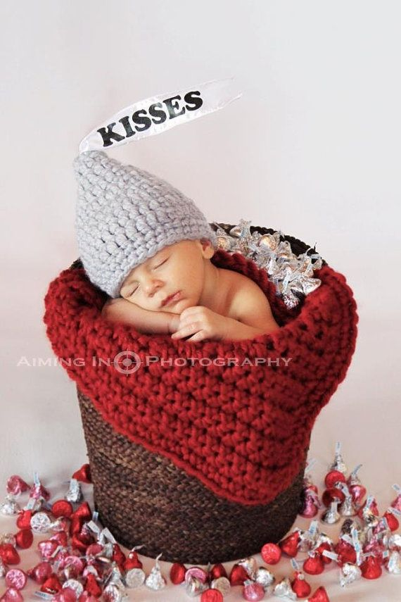 Silver/Gray Crochet Hershey Kisses Hat by CottonLaneBoutique, $25.00