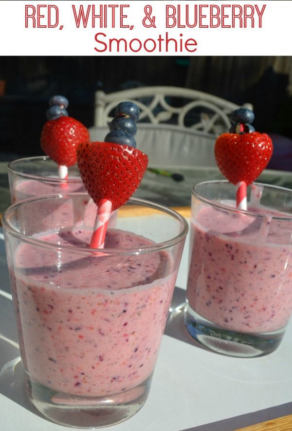 Healthy smoothie full of fresh fruits - red, white, and blueberry  treat!