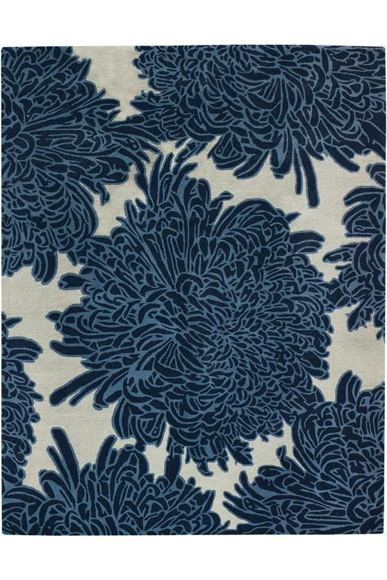 This Blue And Gray Chrysanthemum Wool Rug By Martha