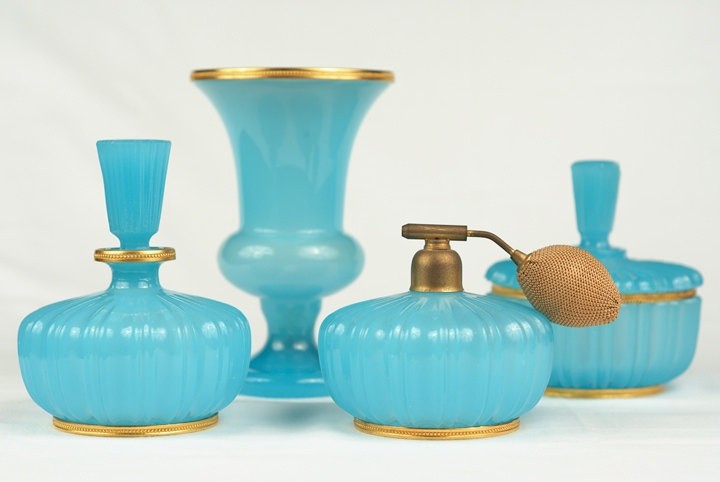 Vintage Turquoise and Gold Glass Dressing Table Set with Perfume Bottles.