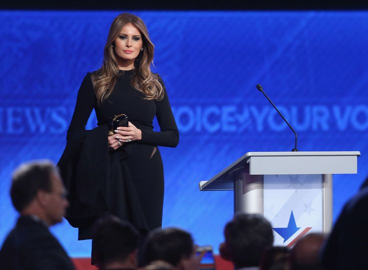 Melania Trump Lookbook: Melania Trump wearing Little Black Dress (1 of 2). Melania Trump donned a fitted LBD as she stood on stage at the Republican Candidates Debate in New Hampshire.