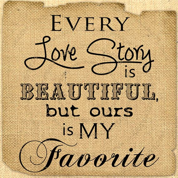 Digital love story quote Romantic love words Collage sheet download For print on iron transfer fabric tag burlap label napkins pillow n258 on Etsy, $1.00