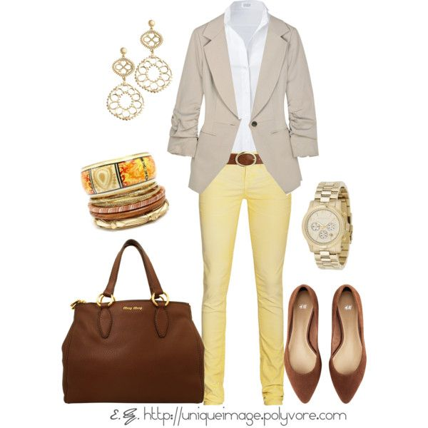 """Yellow Skinny Pants"" by uniqueimage on Polyvore"