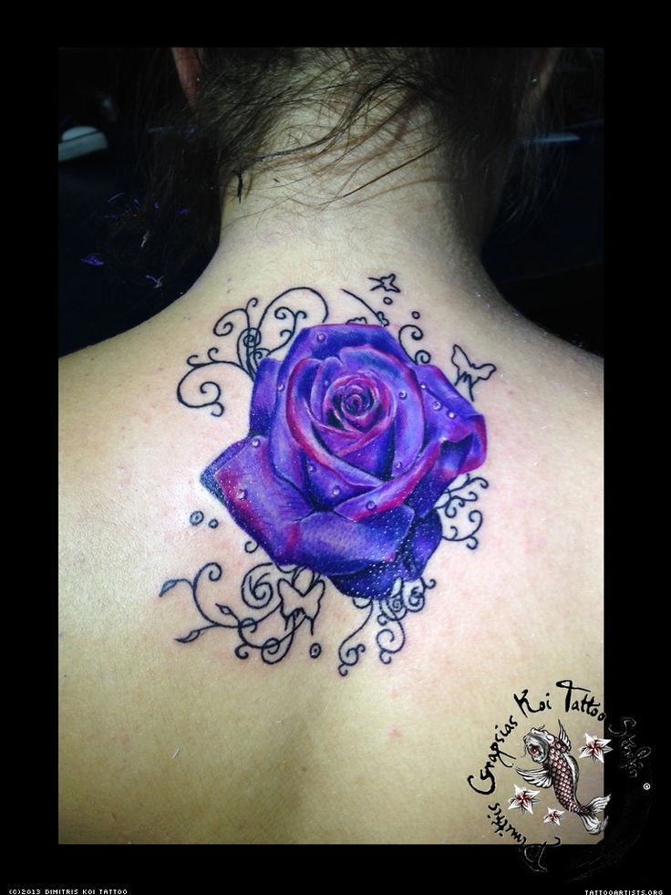 Realistic Purple Erfly Tattoo Roses
