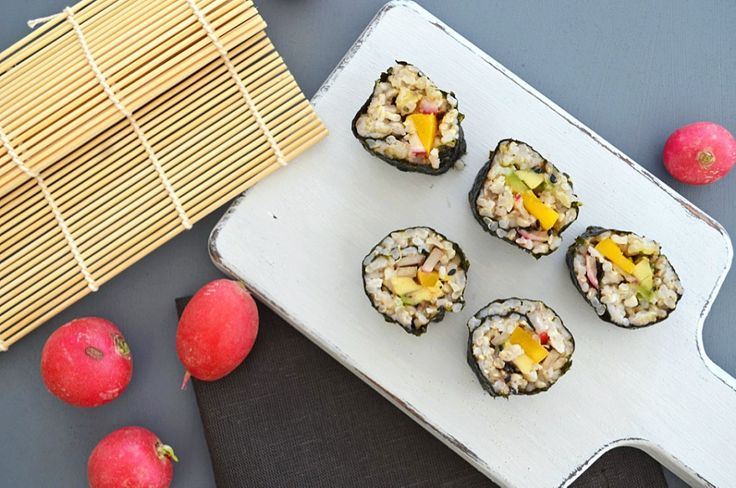 A light, healthy sushi roll with creamy avocado, sweet mango and fresh peppery radish.