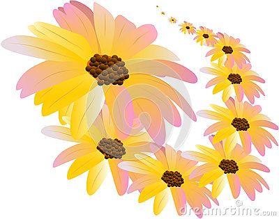 Vector flower pattern pink yellow gradient.