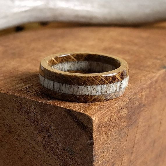 Elk Antler Ring - Whiskey Barrel Ring - Wooden Ring - Wooden Rings for Men - Wooden Wedding Band - Mens Wooden Rings