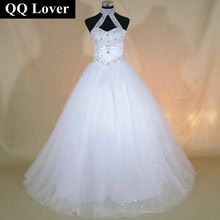 US $78.88 QQ Lover 2017 High Quality Sexy Halter Elegant White Lace Wedding Dress Luxury Crystal Vestido Vintage Plus Size Ball Gowns. Aliexpress product