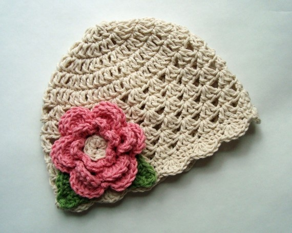 Crochet baby Hat with Flower Girls Crochet Summer Hat by Karenisa, $22.00