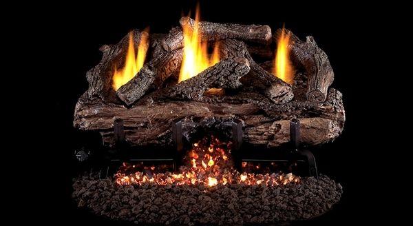 Real Fyre Charred Aged Split Oak Ventless Gas Logs Set