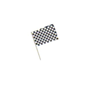 """Racing Flags (Plastic) 4"""" x 6"""".All Weather (plastic) with 7.5"""" wooden dowel"""